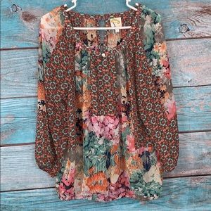 Anthropologie Fig and Flower Top Size Large